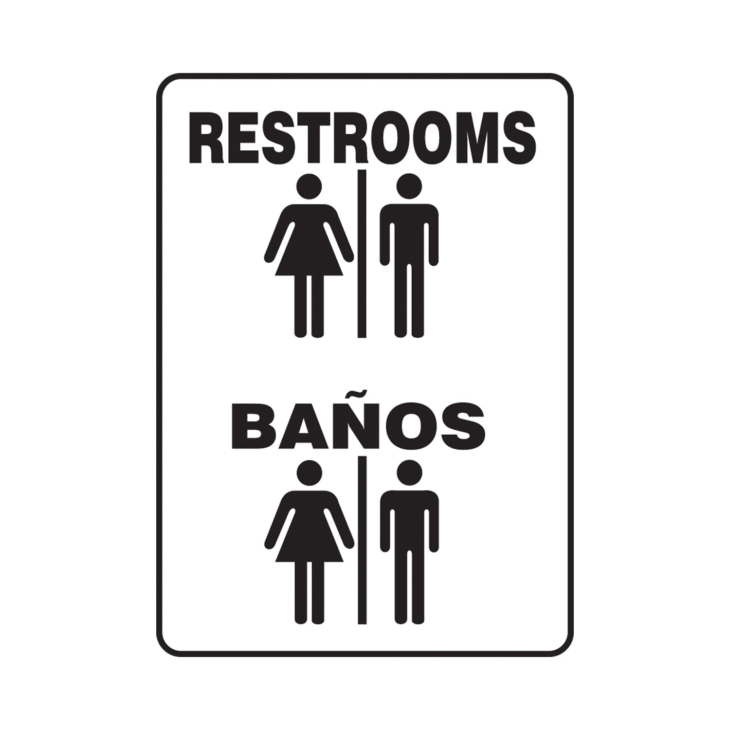 Accuform® SBMRST528XV Restroom Sign, 14 in H x 10 in W, 6 mil Adhesive Dura-Vinyl