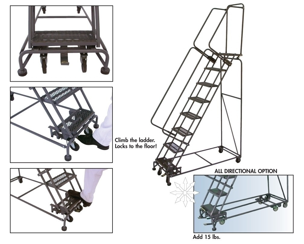 Miraculous Weight Actuated Rolling Safety Ladders 500 Slope No Steps 5 Tread Grip Strut Step Width 16 Top Step Height 50 Overall Height 83 Base Squirreltailoven Fun Painted Chair Ideas Images Squirreltailovenorg