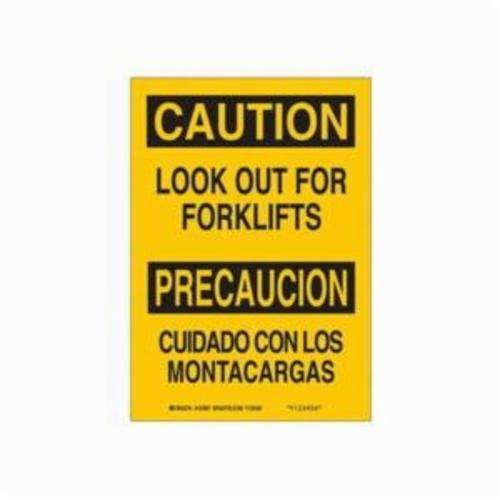 Brady® 123997 Laminated Rectangle Safety Sign, 10 in H x 7 in W, Black on Yellow, Self-Adhesive/Surface Mount, B-302 Polyester