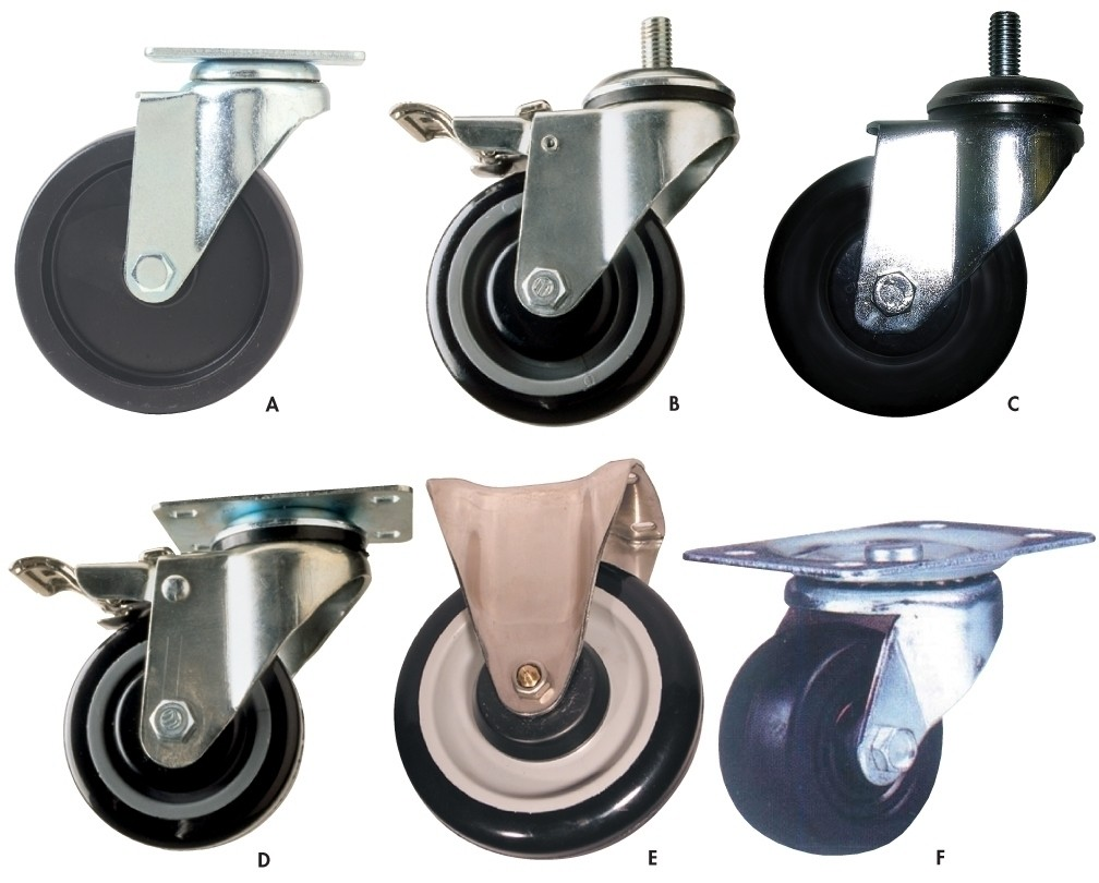 "LIGHT-DUTY CASTERS, Ltr. No.: A, Cap. (lbs.): 300, Wheel Type: 4"" Polyolefin"