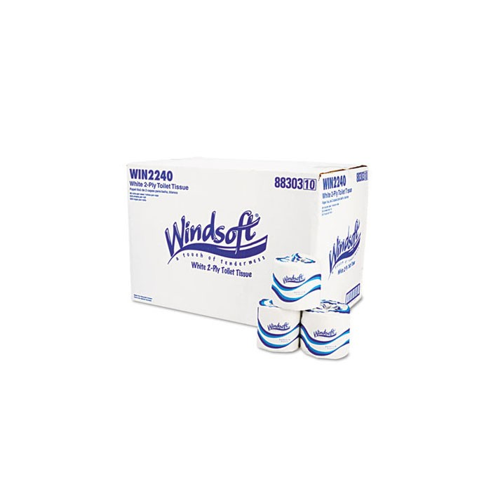 """Windsoft 2240B Toilet Tissue, Facial Quality, 2-Ply, Windsoft 4.6"""", 96 Rolls per Case"""