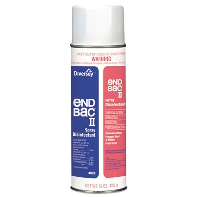 Diversey 04832 End Bac II Spray Disinfectant, Unscented, 15 oz Aerosol, 12 Cans per Case