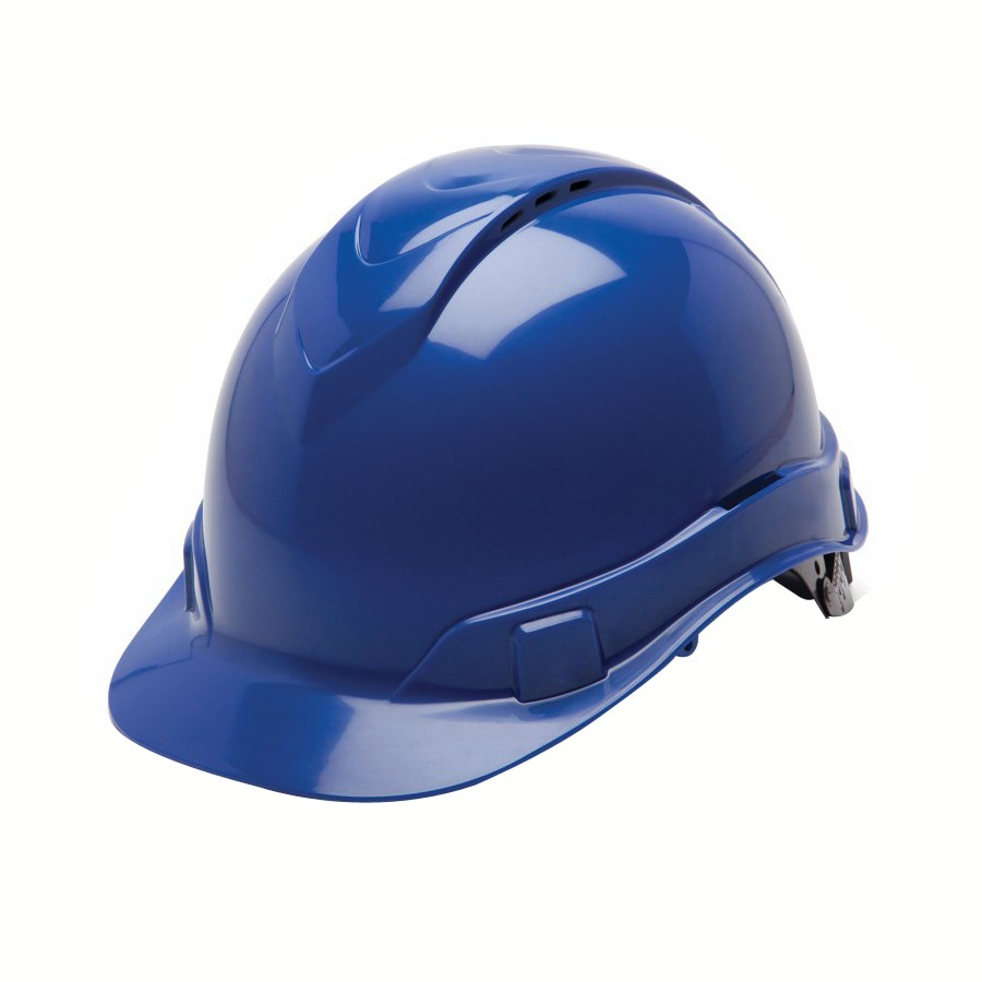 Pyramex® HP44160V Ridgeline Cap Style Hard Hat, 6-1/2 - 8 in, Blue, 4-Point  Ratchet Suspension, High Impact ABS