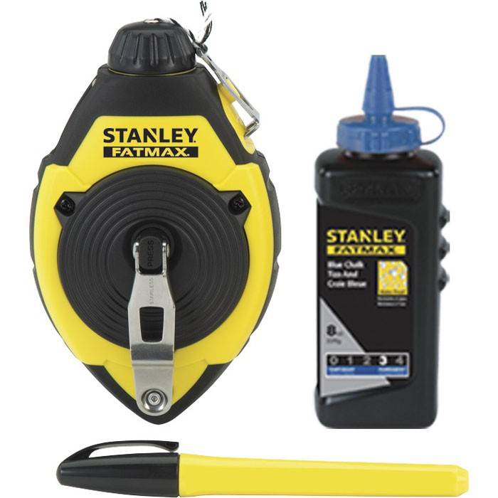 Stanley® FatMax® 47-681L Chalk Line Reel Set, 100 ft Line Length Polyester/Nylon Line, 4 oz Chalk