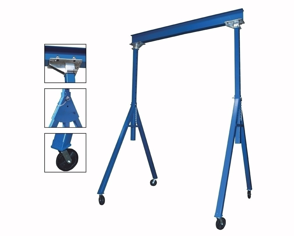 "ADJUSTABLE & FIXED STEEL GANTRY CRANES, Height: Adjustable, Cap. (lbs.): 2000, Beam Length Deduct 12"" for distance between uprights.: 15', Beam Height: 6"", Under I-Beam Height to ground for Fixed: 7'6""-12', Base Width: 76-1/8"""