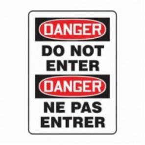 Accuform® FBMADM129VP Bilingual Danger Sign, 20 in H x 14 in W, 0.055 in Plastic
