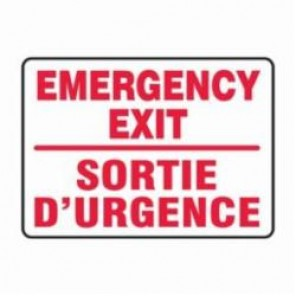 Accuform® FBMADM510MVA Bilingual Emergency Exit Sign, 10 in H x 14 in W, 0.04 in Aluminum