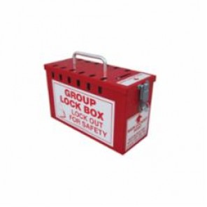 Accuform® KCC617 Portable Lockout Box, 12 Padlocks, 6 in H x 10 in W x 4-1/4 in D, Red