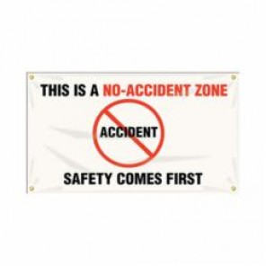 Accuform® MBR414 Safety Banner, THIS IS A NO-ACCIDENT ZONE SAFETY COMES FIRST, English, 28 in H x 48 in W