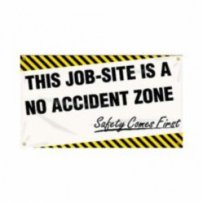 Accuform® MBR416 Safety Banner, THIS JOB-SITE IS A NO ACCIDENT ZONE SAFETY COMES FIRST, English, 28 in H x 48 in W