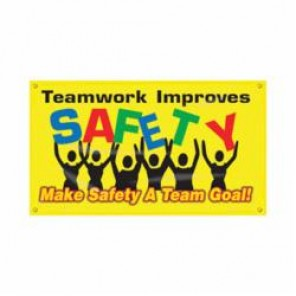 Accuform® MBR424 Safety Banner, TEAMWORK IMPROVES SAFETY MAKE SAFETY A TEAM GOAL!, English, 28 in H x 48 in W