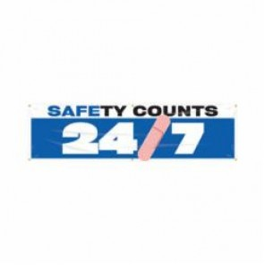 Accuform® MBR936 Safety Banner, SAFETY COUNTS 24/7, English, 28 in H x 96 in W