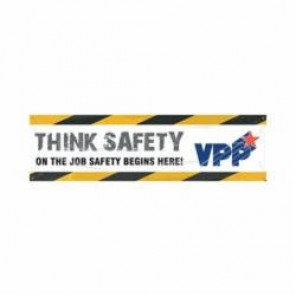 Accuform® MBR969 VPP Safety Banner, THINK SAFETY ON THE JOB SAFETY BEGINS HERE!, English, 28 in H x 96 in W