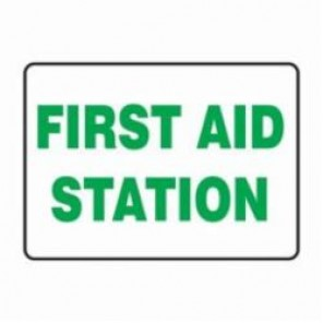 Accuform® MFSD414XV First Aid Sign, 7 in H x 10 in W, 6 mil Adhesive Dura-Vinyl
