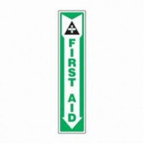 Accuform® MFSD500XV First Aid Sign, 18 in H x 4 in W, 6 mil Adhesive Dura-Vinyl