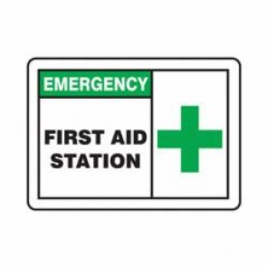 Accuform® MFSD924VP First Aid Sign, 10 in H x 14 in W, 0.055 in Plastic