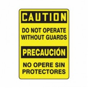 Accuform® SBMEQC721VA Caution Sign, 14 in H x 10 in W, 0.04 in Aluminum