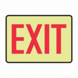 Accuform® MADC500GF Exit Sign, 7 in H x 10 in W, Red on Yellow, Surface Mount, Lumi-Glow™ Flex