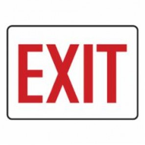 Accuform® MADC531VS Moisture Resistant Exit Sign, 7 in H x 10 in W, Red on White, Surface Mount, Adhesive Vinyl