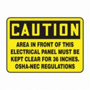 Accuform® MELC625VS Caution Sign, 10 in H x 14 in W, Adhesive Vinyl