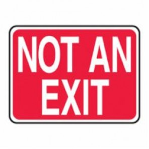 Accuform® MEXT444VS Exit Sign, 10 in H x 14 in W, White/Red, Surface Mount, Adhesive Vinyl