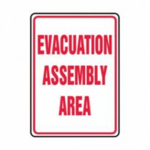 Accuform® MFEX504VA Safety Sign With Graphic, 24 in H x 18 in W, Red on White, Aluminum