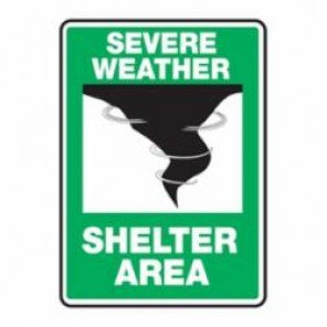 Accuform® MFEX541VP Severe Weather Safety Sign, 10 in H x 7 in W, White/Black on Green, Plastic
