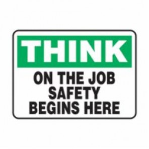 Accuform® MGNF980VP Think Safety Sign, 7 in H x 10 in W, Black/Green on White, Wall Mount, Plastic