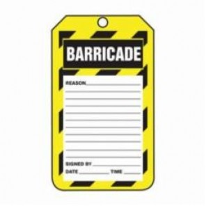 Accuform® TAB107CTP Barricade Tag, 3/8 in Hole, PF-Cardstock