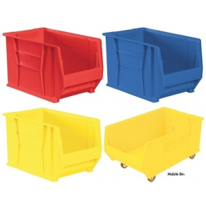 "SUPER-SIZE AKRO BINS, Super Size Akro Bins, Red, Top Outside Dimension L x W x H: 20 x 12-3/8 x 6"", Max. Capacity per bin (lbs.): 200"