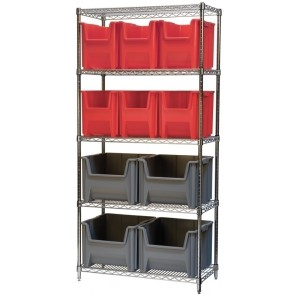 "STAK-N-STORE WIRE SYSTEMS, Bin Blue, Bin Dims L x W x H: 15-1/2 x 19-7/8 x 12-7/8"", Shelf Dims D x L x H: 18 x 36 x 74"", No. of Shelves: 5, No. of Bins: 9, Bin No.: H13017"