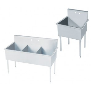 "STAINLESS STEEL SINKS, Size W x D x H: 21 x 24 x 41"", No. Compartments: 1"