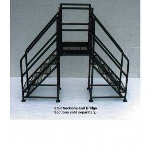 """FIXED CROSSOVERS - STAIR SECTIONS (SET OF 2) - 48° SLOPE, Tread: Expanded Metal, Overall Width: 27"""", No. Steps: 2, Vertical Clearance: 28"""""""