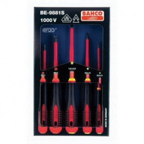 Bahco® BE-9881S Screwdriver Set, Imperial, 5 Pieces, Black Oxide Tipped/Chrome Plated
