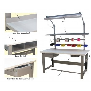 "1,000 LB. CAPACITY ROOSEVELT SERIES WORKBENCH OPTIONS, Photo Ltr Id: A, Option: Light (Order necessary Upright separately), 48""L Includes Bulbs, Mounting Frame & Cord w/switch."