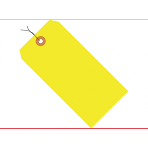 """Box Partners G12073A 5-3/4 x 2-7/8"""" Fluorescent Yellow, Pre-Wired, 13 Pt. Shipping Tags, 1,000/Case"""
