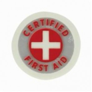 Brady® 102030 3-in-1 Hard Hat Emblem, CERTIFIED FIRST AID Legend, 2 in Dia, B-946 Vinyl, Red/Glo/Reflective