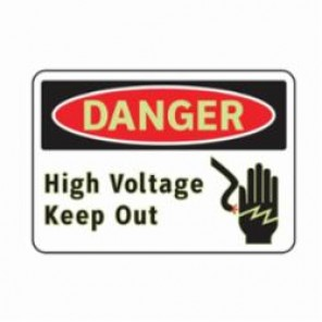 Brady® 102487 3-In-1 Danger Sign, 10 in W x 7 in H, Red/Black on White, Glow-In-The-Dark Aluminum, DANGER HIGH VOLTAGE KEEP OUT