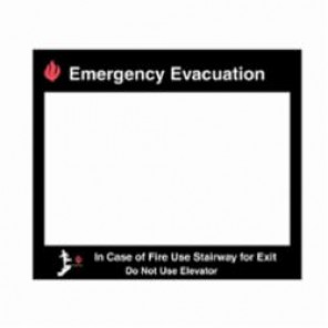 Brady® 102857 Emergency Evacuation Map Holder, For Use With 11 in H x 17 in W Insert, Glow-In-The-Dark Plastic, Black/Red on Clear