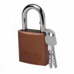 Brady® 104574 Lightweight Safety Padlock, Keyed Different Key, 1/4 in Shackle, LOTO-10 Solid Aluminum Body, Brown, 6-Pin Cylindrical Locking