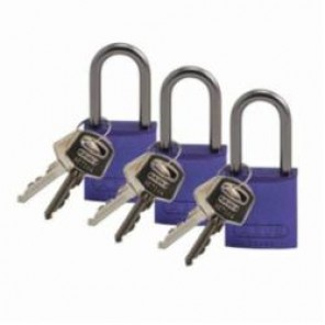 Brady® 104576 Lightweight Safety Padlock, Keyed Different Key, 1/4 in Shackle, LOTO-10 Solid Aluminum Body, Purple, 6-Pin Cylindrical Locking