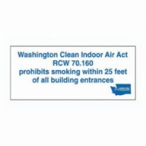 Brady® 105021 No Smoking Sign, 3 in H x 7 in W, Blue/Light Green/Dark Green on White, Self-Adhesive Mount, B-302 Polyester