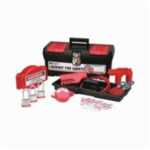 Brady® 105959 Filled Portable Lockout Kit With (3) Keyed-Alike Steel Padlocks, 13 Pieces, Red on Black, For Use With Valve Lockout