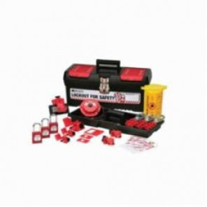 Brady® 105961 Filled Portable Lockout Kit With Keyed-Alike Safety Padlocks, 18 Pieces, Black on Red, For Use With Electrical Lockout