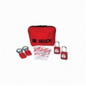 Brady® 105969 Filled Portable Lockout Kit With Keyed-Alike Safety Padlocks, 8 Pieces, Red, Nylon, For Use With Electrical Lockout