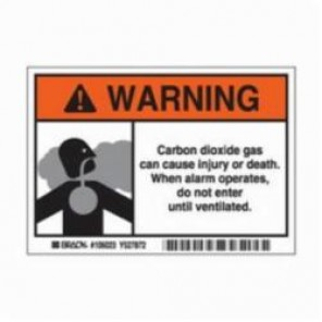 Brady® 106023 Laminated Rectangle Carbon Dioxide Sign, 3-1/2 in H x 5 in W, Black/Orange on White, Self-Adhesive Mount, B-302 Polyester