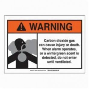 Brady® 106031 Laminated Rectangle Carbon Dioxide Sign, 3-1/2 in H x 5 in W, Black/Orange on White, Self-Adhesive Mount, B-302 Polyester