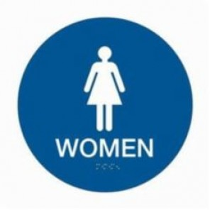 Brady® 106180 Circle California/ADA Restroom Sign, 12 in H x 12 in W, White on Blue, Surface Mount, B-401 Plastic