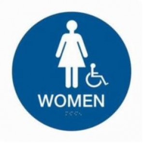 Brady® 106183 Circle California/ADA Restroom Sign, 12 in H x 12 in W, White on Blue, Surface Mount, B-401 Plastic