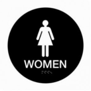 Brady® 106186 Circle California/ADA Restroom Sign, 12 in H x 12 in W, White on Blue, Surface Mount, B-401 Plastic